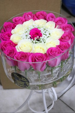 Box of Pink and White Roses